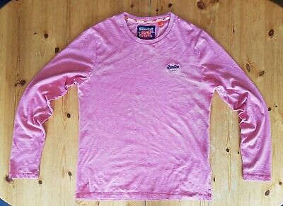 Men's BNWOT Superdry Pink Marl Long Sleeve T-shirt - LARGE - Mislabelled As XL