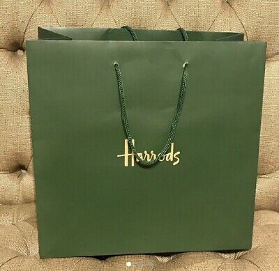 Harrods Very large paper shopper carrier gift bag - Green, size 43x52x20 Cm