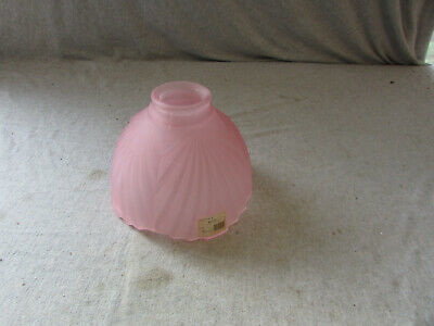 "Pink Glass Art Deco Lamp Shade Globe 2 1/4"" Fitter"