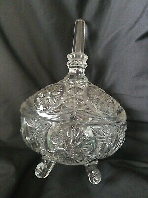 Vintage or Antique Cut Crystal Candy Dish 4 Footed Oval Shaped with Steeple Top