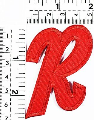 Red Letter R Patch Embroidered Patch Sew On/Iron On Patch Alphabet Logo Patches