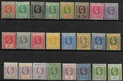 Seychelles KGV 1921 Complete Set Of Mint SG 98-123 High Cat Value