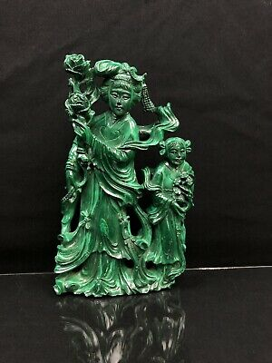 Magnificent Very Large Chinese Carved Malachite Kwan Yin Statue