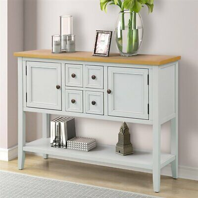 Retro Console Table Wood Entryway Sofa Accent Hallway Living Room Furniture
