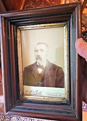 Antique Walnut Wood Picture Frame With W,C,Bell Photo Frederick Md