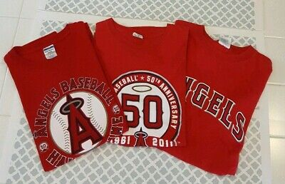3db2ab85 Los Angeles Anaheim LA Angels Red 50 Years Guerrero Hall of Fame T-Shirts XL