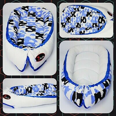 Baby nest pod cocoon cushion bed infant sleep reversible REAL PATCHWORK QUALITY