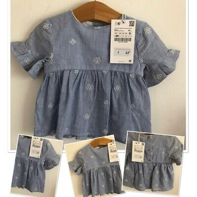 New Tags Zara Baby Girls Embrodied Tunic Blouse Top 6-9 Months