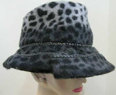 European Collection gray leopard fuzzy winter hat