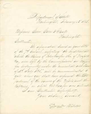 Daniel Webster - Manuscript Letter Signed 02/13/1851