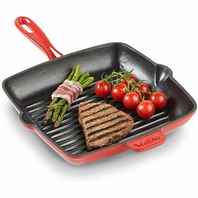 VonShef Grill Pans Cast Iron Griddle With Non-Stick Enamel Coating, Suitable For