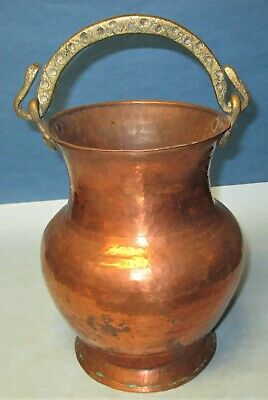 Antique Hand Wrought Hammered Copper Pot Urn with Brass Handle