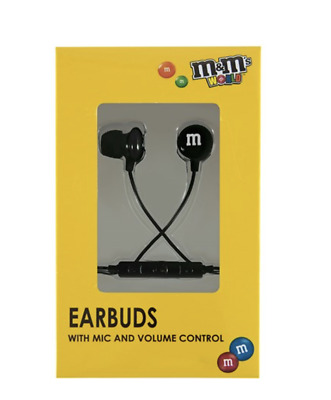 M&M's World Black Wired Ear Buds with Microphone New with Box