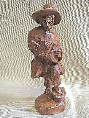 UNIQUE Hand Carved Wooden BEARDED MAN PLAYING ACCORDIAN - Great Detail