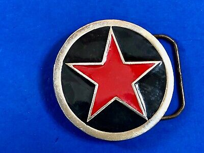 4557 Red star in black circle Pewter belt buckle by Great American Buckles