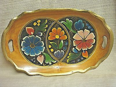 VINTAGE Hand Crafted LARGE & COLORFUL OVAL WOODEN TRAY - A Real Beauty