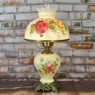 """Antique Victorian Gone with The Wind Hand Painted Electric Parlor Lamp 22"""" Tall"""
