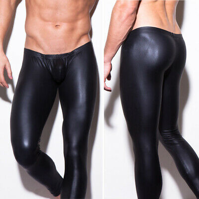 Mens Faux Leather Leg Tight Pants Man Leggings PU Long Trousers Nightclub Party