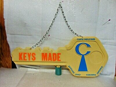 vintage CURTIS INDUSTRIES KEYS MADE advertising sign STORE DISPLAY $9.95 no rsrv