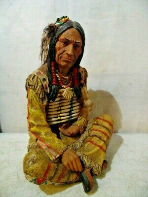Vintage Looking Native American Indian Chief Figurines Sculpture Home Decor