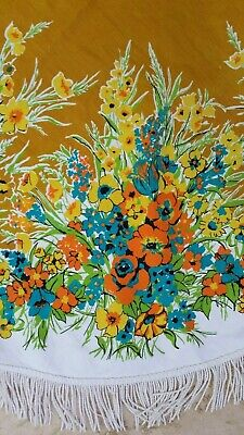 "Vintage 60/70's YELLOW BLUE FLORAL 63"" ROUND TABLECLOTH with FRINGE"