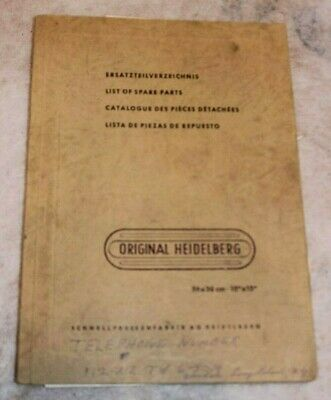 Original AG Heidelberg List of Spare Parts manual Vintage book Schnell Press