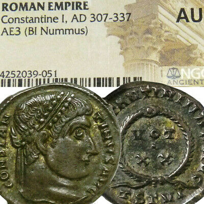 Constantine the Great NGC Certified Ancient AU RARE R1 in RIC 101 Roman Coin
