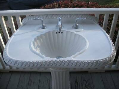 Vintage Sherle Wagner Pedestal Sink with Ribbon and Reed Faucet Set