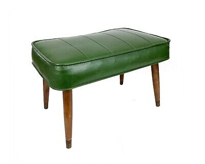 Vintage 1960s Mid-Century Modern Avocado Green Foot Stool Ottoman Tapered Legs
