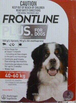 Frontline Plus XL Dogs 89-132 lbs (40-60KG) 6 Months Pack Supply RED