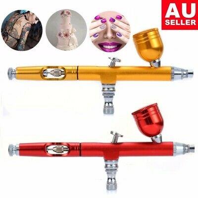 Dual Action Gravity Feed Airbrush Gun 0.2mm Spray Art Paint Tattoo Nail Tool Kit