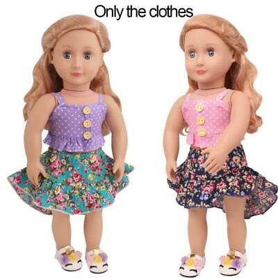 Sweet Dolly Doll Clothes Lace Top Floral Skirt Set For 18 Inches Cute Girl P0E4