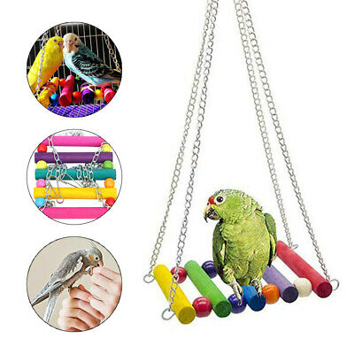 8 Pcs Pets Bird Toy Parrot Hanging Swing Rope Cage Toys Stand Parakeet Cockatie