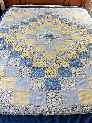 "Vintage  Handmade Blue & Yellow Trip Around The World Quilt 72"" X 88"" Hand Tied"