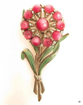 Vintage Art Deco Large Enamel Pink Moonglow Cab Rhinestone Flower Silver Pin