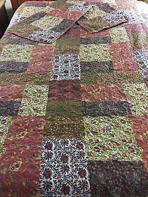 "Stunning Vintage Rustic Tuscany Patchwork Quilt & 2 Shams 106"" X 97"""
