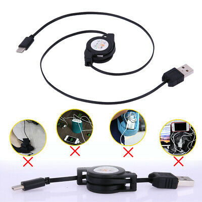 1pc USB Type C USB 3.1 Retractable Cable Charger Fast Charging Type-C USB-C Cord