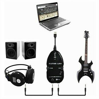 Guitar to USB Interface Link Electric Audio Cable Music Recording Adapter For PC