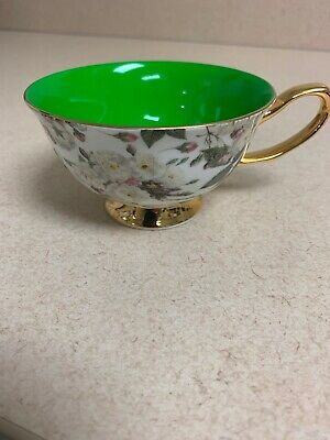 Grace's Teaware Porcelain Tea Cup Pink White Roses Gold Accents