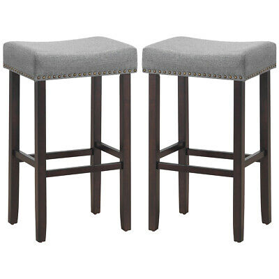 Super Set Of 2 White Gray Bar Stools 24H Chrome Nailhead Leather Ibusinesslaw Wood Chair Design Ideas Ibusinesslaworg