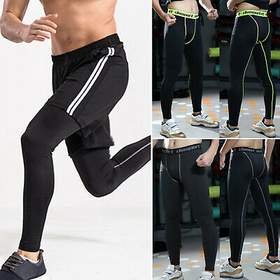 New Mens Compression Pants Tights Workout Base Layers Skins Fitness Long Running