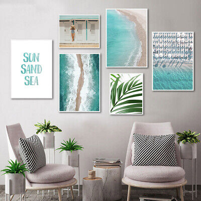 Aerial View Ocean Sea Waves Palm Tree Leaf Poster Seascape Canvas Print Picture
