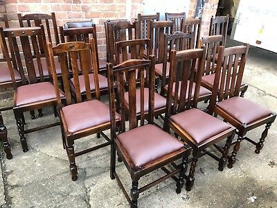 COLLECTION OF OAK 1920s REFURBISHED DINING CHAIRS - FOR PUBS, RESTAURANTS ETC