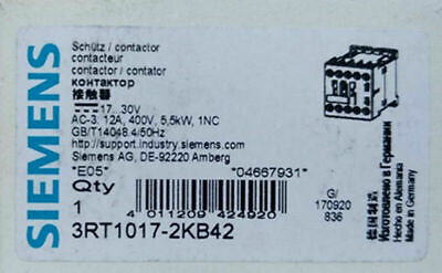 1PC  NEW   SIEMENS   3RT1017-2KB42  12A   free shipping &R1