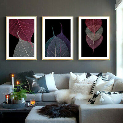 Modern Style Colorful Leaf Abstract Canvas Poster Contemporary Wall Art Print