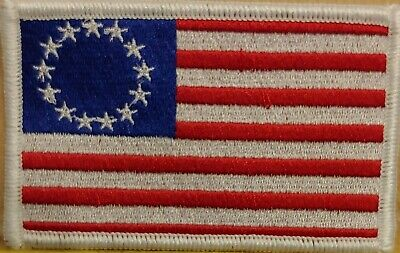 Betsy Ross US Flag USA Patriotic Tactical Iron-On Patch White Border White Stars
