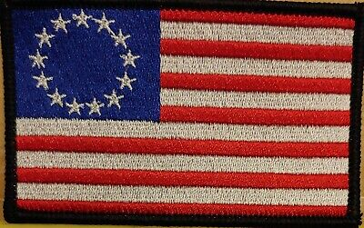 Betsy Ross US Flag USA Patriotic Tactical Iron-On Patch Black Border White Stars