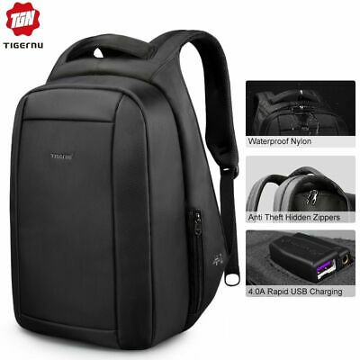 Mens School Backpacks 15.6 inch Laptop Anti Theft Zipper Waterproof USB Charger