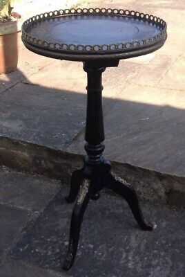 ANTIQUE PEDESTAL TRIPOD LEGGED CIRCULAR Wood And Ormolu OCCASIONAL TABLE
