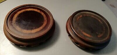 A Pair of Antique Carved Wooden Stands for Small Vases